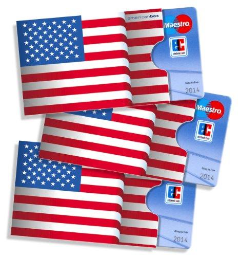 cardbox /// Motiv: USA/Amerikanische Flagge/Stars & Stripes Fahne /// 3er Set /// Kreditkartenhülle, Ausweishülle, Visitenkartenhülle
