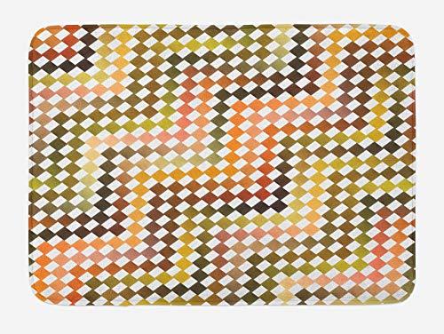 N\A Alfombra de baño Colorida, patrón de Cuadrados Azulejos de Mosaico a Cuadros diagonales Ilustración en Forma de Espiga, Alfombra de decoración de baño de Felpa con Respaldo Antideslizante
