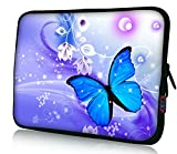 iColor 15' Laptop Sleeve Bag Neoprene 14.5' 15.4' 15.6' inch Neoprene Netbook Computer Tablet PC Handle Case Carrying Cover Pouch Holder Protection-Blue Butterfly