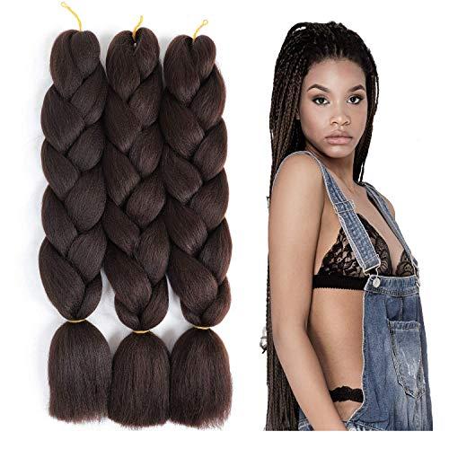 """ColorfulPanda Kanekalon Jumbo Tresse Cheveux 24"""", Extension de Cheveux Tresse Brun Extension de Fibre Haute Température 3pcs / Lot 100g / pc (24"""" -60cm, Brun Foncé)"""