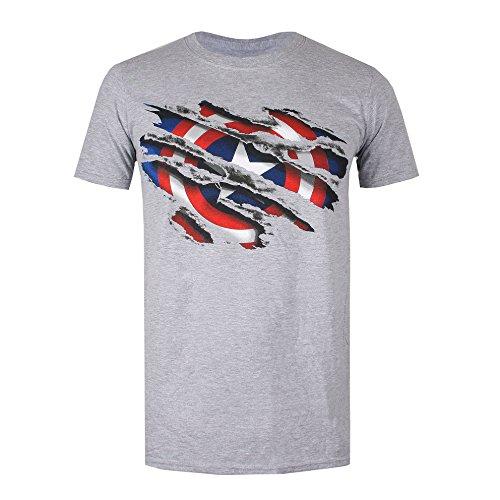 Marvel Captain America Torn T-Shirt, Grigio Erica, M Uomo