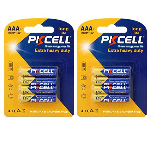 PKCELL 8 Count AAA 1.5V Batteries Carbon Zinc AAA Battery Long Lasting, All-Purpose Triple A Battery