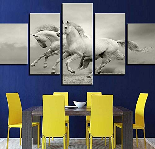 PrintWUHUA Cuadros para Dormitorios Modernos 2 Caballos Blancos Cuadros Decoracion Salon Modernos 5 Partes