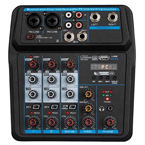 Depusheng U4 Portable Mini Mixer 4 Channel Audio DJ Console with Sound Card, USB, 48V Phantom Power for PC Recording Singing Webcast Party