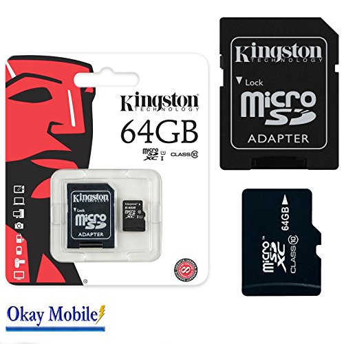 Okay Mobile Original Kingston MicroSD SDHC Tarjeta de Memoria de 64 GB para Samsung Galaxy J3 2016 Duos – 64 GB