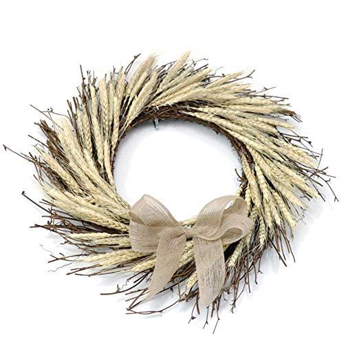 Corona de trigo natural de 45 cm Corona de otoño Corona de la puerta principal Corona de acción de gracias para la celebración del festival Decoración Puerta del hogar Boda al aire libre coronal