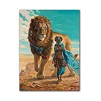 """レトロなライオンと女の子のキャンバス印刷アートファンタジーウォールアートポスターとプリント壁の写真リビングルームの家の装飾23.6"""" x 31.4""""(60x80cm)フレームレス"""