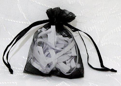 Lot de 100 Sachets ORGANZA NOIR - Sacs, Pochettes - Cordon Coulissant de Serrage - pour Mariage, Bijoux, Cadeaux, Cotillons, Confettis, Boutiques, Vente 7 cm x 9 cm