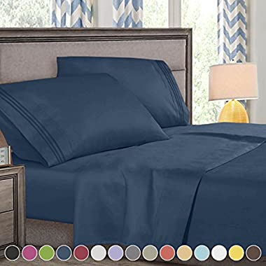 Queen Size Bed Sheets Set Navy Blue, Highest Quality Bedding Sheets Set on Amazon, 4-Piece Bed Set, Deep Pockets Fitted Sheet, 100% Luxury Soft Microfiber, Hypoallergenic, Cool & Breathable