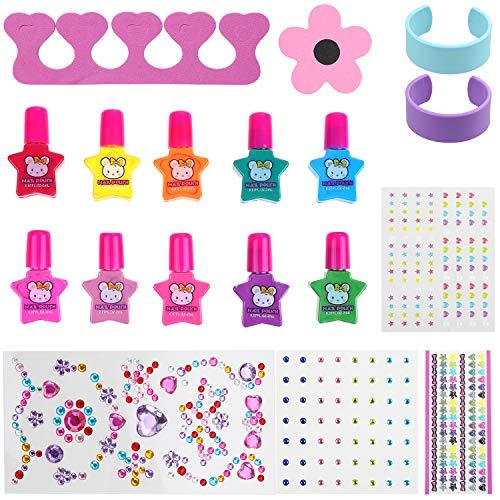 Anpro 19Stk Nagellack Set Nagelset Kinder Auf Wasserbasis, Nageldesign Mädchen Geschenk Set 10 Einfarbiger Nagellack(ab 3 Jahren)