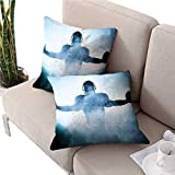 mallcentral-EU Sportcouch Pillow coversHighic Shaped Rugby Player Silhouette Shadow Debout dans Le Brouillard Aire de Jeu Coussin Photo Global Sports Case 2 Pcs