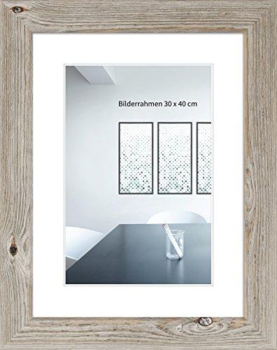 WANDStyle Bilderrahmen Landhaus Stil 30x42cm DIN A3 I Farbe: Eiche-Optik I Fotorahmen I Holzbilderrahmen im Vintage Stil I Made in Germany I H770