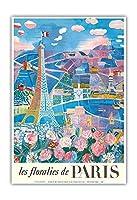 フランス、パリの花 - エッフェル塔 - ビンテージな世界旅行のポスター によって作成された ラウル・デュフィ c.1966 - アートポスター - 33cm x 48cm