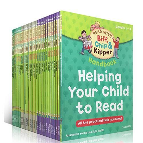 WDFDZSW 1 Conjunto de 33 Libros 1-3 Lectura del árbol Manual para Ayudar a los niños a Leer y Leer Libros de imágenes de Historias en inglés
