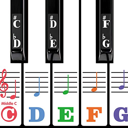 Piano Keyboard Stickers for 88/61/54/49/37 Key. Super Large Bold Colorful Letter. Good Tool for kids Learning. Multi-Color,Transparent,Removable