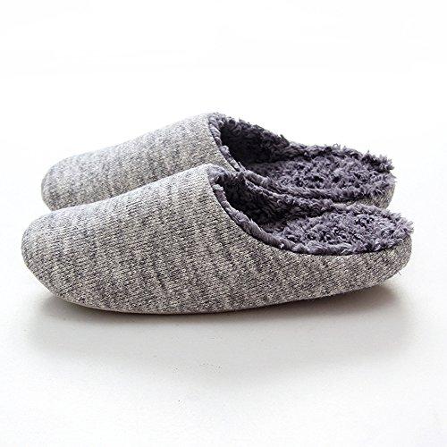 Doremyあったかスリッパ 秋冬用 暖かい ルームシューズ 洗える もこもこ 室内履き 滑り止め しゃれ レディース メンズ 防寒あ 静音で通気 編み物 可愛い カップル用 (男性用, グレー)
