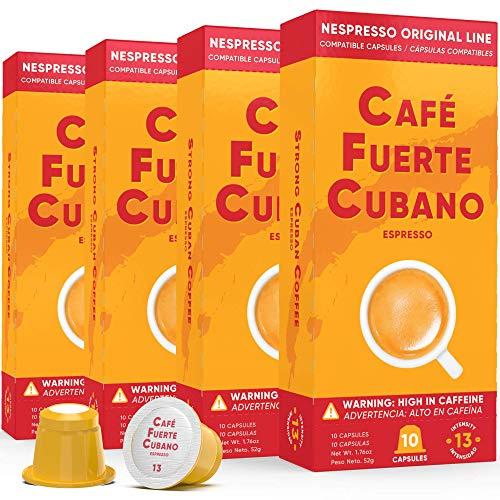 Cafe Fuerte Cubano, Espresso Pods, Nespresso Capsules Compatible with OriginalLine Machines, Strong Cuban Coffee, Ristretto Cafecito, Intensity 13, Dark Roast, High In Caffeine (40 Count)