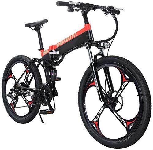 Bici elettrica, Bici elettrica pieghevole per adulti, 27 velocità Bicicletta da montagna / per il pendolamento Ebike con motore a 400W, telaio in lega di magnesio leggero MTB Dual Sospensione E-Bike p