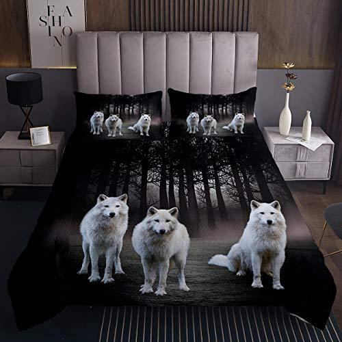 Wolf Coverlet Safari Animal Pattern Colcha para niños y niñas, diseño de lobo blanco, conjunto de edredón con 1 funda de almohada, 2 piezas para cama individual