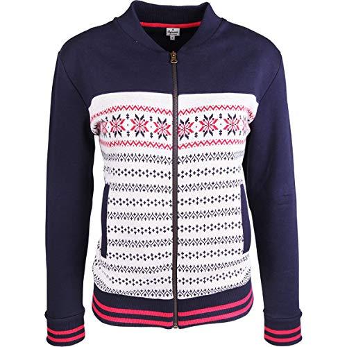Alprausch Damen Bondfrau Jacke, Navy Norweger Pattern, XL