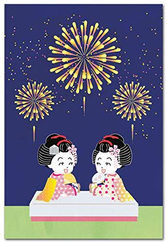 舞妓ちゃんと楽しむポストカード「舞妓さんと花火」かわいい絵葉書