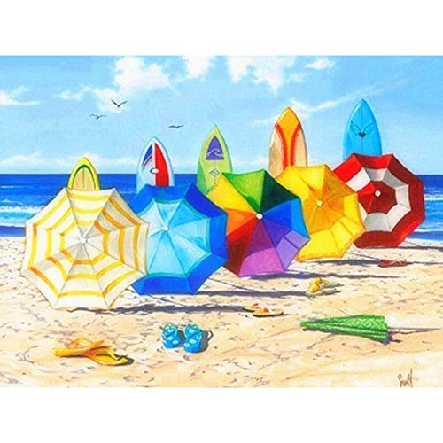 Cuadros Diamantes 5D Diamond Painting Kit Completo,Sombrilla de playa de color DIY Pintura Diamante,Kit Manualidades Adultos Set,Cuadros Para Pintar Por Numeros Adultos,Diamond Painting Personalizado