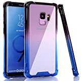 BAISRKE Galaxy S9 Case, Shock Absorption Flexible TPU Soft Edge Bumper Anti-Scratch Rigid Slim Protective Cases Hard Plastic Back Cover for Samsung Galaxy S9 - Black Blue Gradient