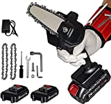 Mini Chainsaw Cordless 24V 2pcs Batteries, Amerfist 4 Inch Electric Power Chain Saw, One-Hand Operated Portable Wood Saw for Farming Tree Limbs, Garden Pruning, Bonsai Trunk, and Firewood