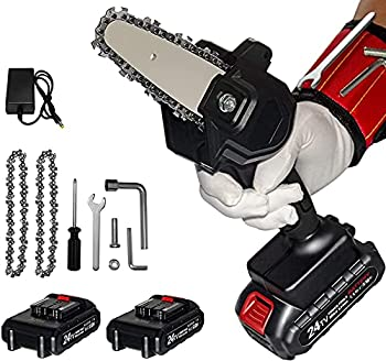 Mini Chainsaw Cordless 24V 2pcs Batteries Amerfist 4 Inch Electric Power Chain Saw One-Hand Operated Portable Wood Saw for Farming Tree Limbs Garden Pruning Bonsai Trunk and Firewood