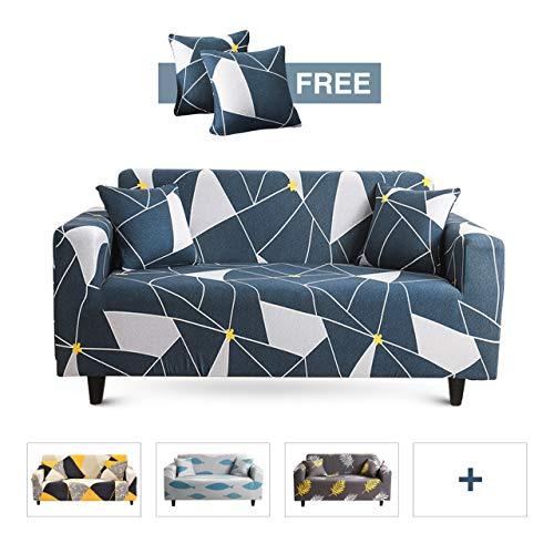 MAJAP Couch Cover Stretch - Elastische Sofa Überzug für 3 Sitzer mit 2 Kissenbezüge - Sofabezug auch für Ecksofa - Sesselbezug Sofahusse Abdeckung L Form Überwurfdecke (190-230 cm)