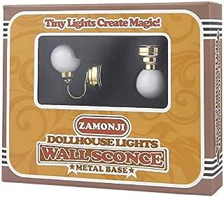Zamonji Dollhouse Ceiling Light Starter Set, Battery Operated, Metal Base, Plastic (Gold)
