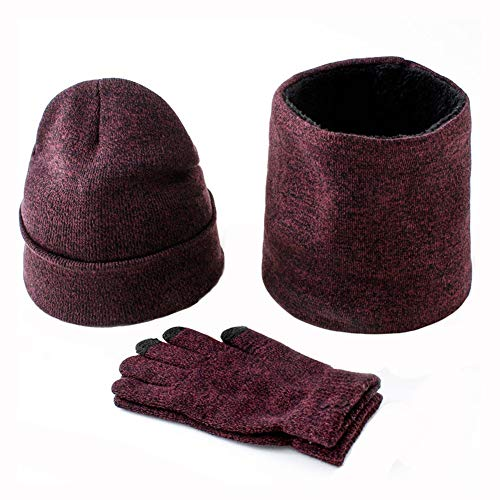 LVYY Guanti Schermo Cappello Tocco degli Uomini di Inverno in Pile Scaldacollo Maglia Mittens Spesso Beanie di Compleanno Regalo di Natale (Color : Wine Red)
