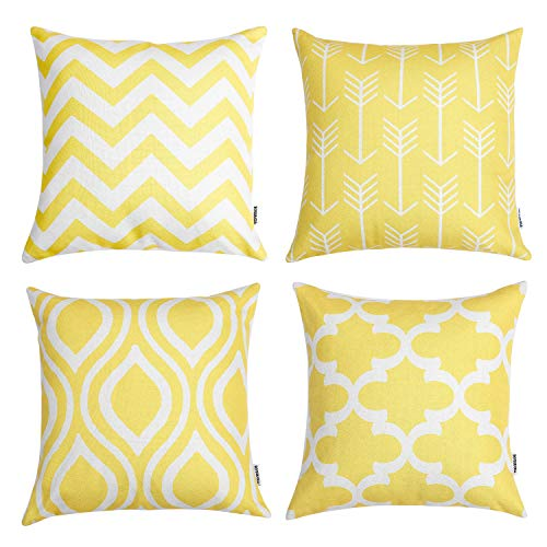 TIDWIACE Durable Cotton Linen Yellow Cushion Covers Accent Pillows Case Bed Sofa Waist Cushion Cover Car Home Decoration 18 x 18 Inch 45 x 45 cm, Set of 4 Yellow