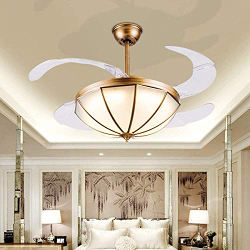 Tengchang 42' LED Ceiling Fan Light Decor Chandelier Lamp Retractable Blade 3 Speed Remote