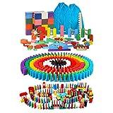 AISFA ドミノ 倒し 積み木 知育玩具240個 ギミック 仕掛け 39種セット 木製 カラフル こども 誕生日 プレゼント 並べる用道具と収納袋 セット