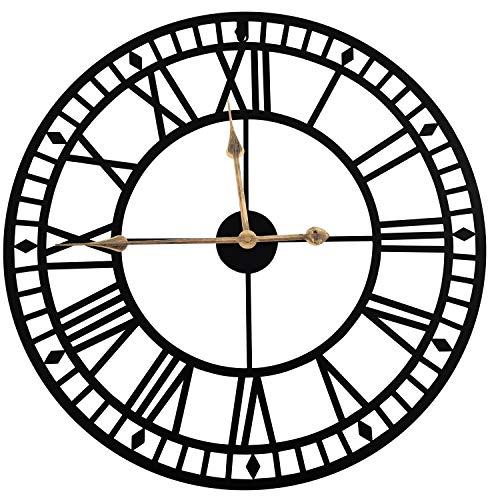 """DORBOKER 24"""" orologio da parete grande in metallo retrò premium per cucina, camera da letto, soggiorno, ufficio (60cm Romano-Nero A)"""