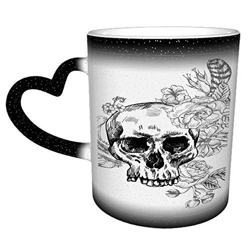 Skull Flowers Day Dead Taza de café blanca y negra Taza de té de cerámica Regalo perfecto para familiares y amigos 11 oz