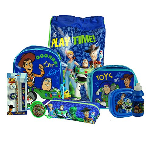 Toy Story 8PC Back to School Bundle - inc Backpack, Drawstring Sports Bag, Insulated Lunch Bag, Sandwich Box, Water Bottle, Coin Pouch, Pencil Case & Stationery Set.