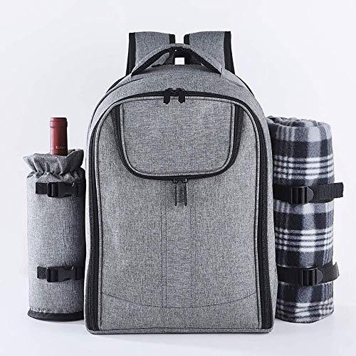 Picknickbeutel Picknickkorb Tote Picknick-Rucksack für 4 Personen Set Packung mit isolierter wasserdichter Tasche für Familienunternehmen Camping (grau) für Reise/Picknick/Sport/Flüge (Farbe: Gr