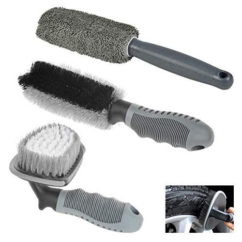 YANSHON 3 in 1 Auto Felgenbürste, Sauberen Bürste, Waschbürste, Felgen Saubere, Felgenreinigung für Alufelgen, Stahlfelgen, Chromfelgen