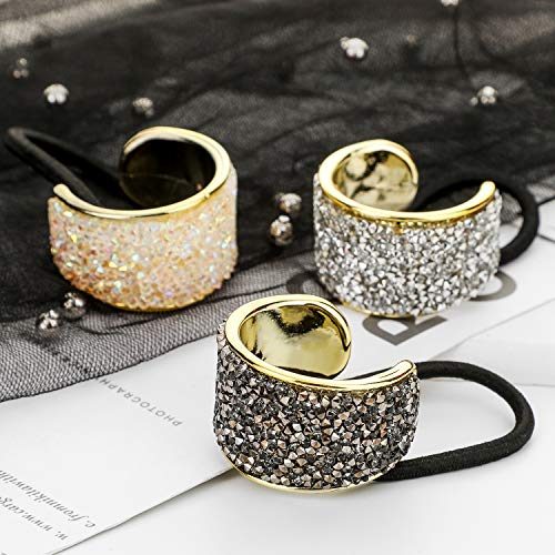 DEEKA Rhinestone Glitter Ponytail Holder Cuffs Elastic Hair Tie Band Pack of 3 for Women