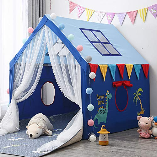 Children's Game Tent Kamer met LED-lampje Ball, The House Oversized, Wood Game Indoor Outdoor baby speelgoed Prinses en Prince Castle,Blue