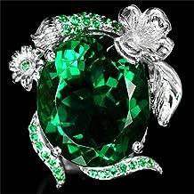 Pikul giftshop Gemstone 2.3ct Emerald Women Men 925 Silver Ring Wedding Cocktail Size 6-10 (8)