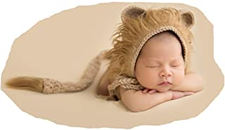 Newborn Boy Girl Handmade Baby Photography Props Outfits Photo Shoot Lion Hat Tail Sets Brown