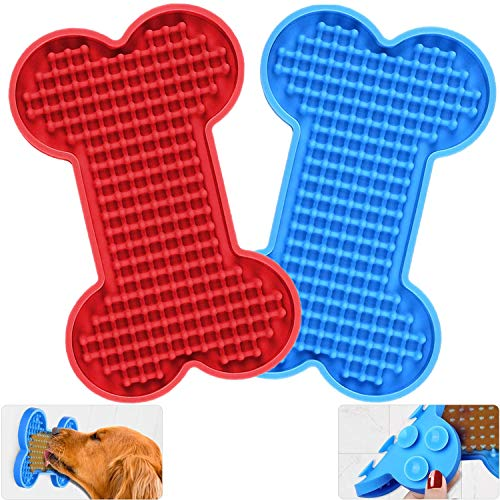 Zacro Dog Lick Mat Lick Pad Dog Peanut Butter Lick Pad, Slow Feeder Dog Bowls, Boredom and Anxiety Reducer for Pet Food, Yogurt, Dog Bathing, Dog Grooming and Dog Training-2 Pack