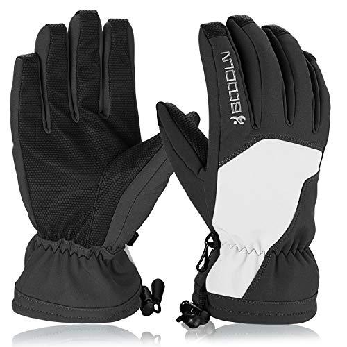 Hicool Skihandschuhe für Herren Damen Winter Sporthandschuhe Outdoor Thermo Handschuhe für Ski Snowboard Wandern Rad Motorrad (Weiß/Schwarz, L)