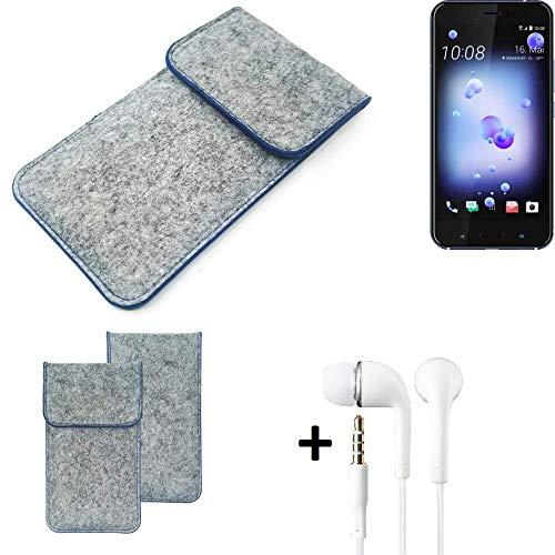 K-S-Trade Filz Schutz Hülle Für HTC U11 Dual-SIM Schutzhülle Filztasche Pouch Tasche Handyhülle Filzhülle Hellgrau, Blauer Rand + Kopfhörer