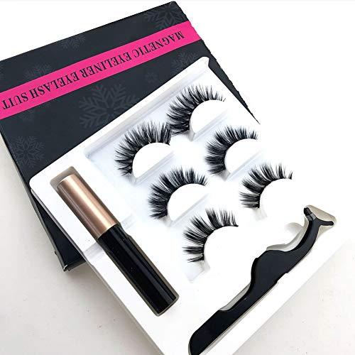 LjQQjDz Frauen Langlebige Make-up Magnetic Eyeliner Mit Falschen Wimpern Pinzette Set Natürliche...