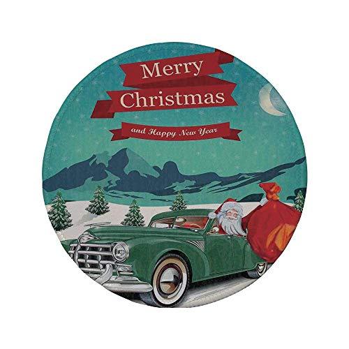 Rutschfreies Gummi-Rundmaus-Pad Weihnachtsschmuck Weihnachtsmann im Oldtimer mit Spielzeugsack Schnee Winter Sternennacht Neujahr Blaugrün 7.9