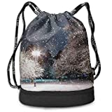 PmseK Turnbeutel Sportbeutel Kordelzug Rucksack, Sporttasche Winter Night Shoulder Bags Travel Sport Gym Bag Print - Yoga Runner Daypack Shoe Bags with Zipper...